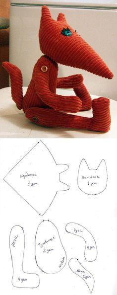 Шьем забавного лисенка из вельвета #diy #toy #fox #template