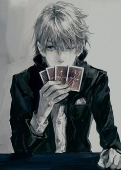 Anime guy, black and white, grey, playing cards, red cards
