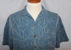 Island Shores Blue Floral Rayon Hawaiian Shirt- Mens Size Large  #IslandShores #Hawaiian