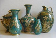 "Walter Mutze ""Goldrausch"" 4 vases & bonboniere  Photo from Ebay seller porzellan-verkauf Vase, Ebay, Design, Home Decor, Gold Rush, Decoration Home, Room Decor, Flower Vases, Interior Design"