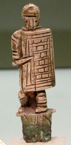 "Gladiator ""Secutor"", Roman decoration (ivory), c. 3rd century AD, (Römisch-Germanisches Museum, Cologne)."