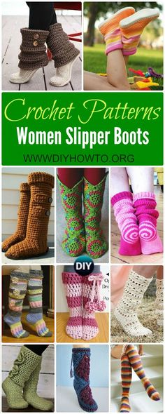 Crochet High Knee Crochet Slipper Boots Patterns For Winter via @diyhowto