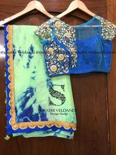 Beautiful saree with contrast pearl work blouse For orders Call / Watsapp : 03 February 2017 Ethnic Outfits, Indian Outfits, Indian Clothes, Choli Blouse Design, Saree Blouse Designs, Indian Wear, Indian Style, Stylish Sarees, Kids Frocks