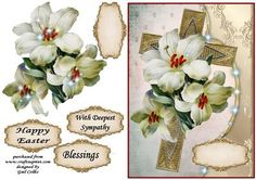 deepest sympathy on Craftsuprint designed by Gail Collins - a lovely cross and lillies can be used used for easter as well . - Now available for download!