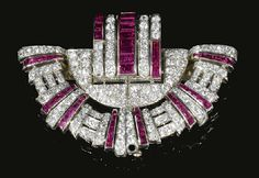 Ruby and diamond fan brooch, 1950's. Marie Poutine's Jewels & Royals
