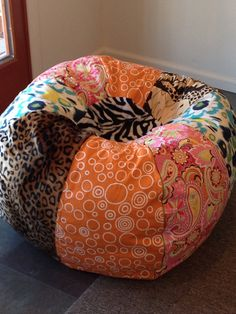 NEW Multi print bohemian bright bean bag chair with leopard zebra and ikat