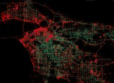 Android dots (green) vs iPhone dots (red), poorer and richer areas in cities. In this case, Los Angeles.