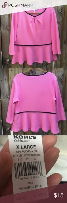 """Elle pink textured peplum top Very classy and elegant!  Nwt $44 retail price Size: XL  Black  20.5"""" armpit to armpit, 24"""" long  Stylish sophistication is yours with thus peplum hem top.  Textured pattern Pleated keyhole accent Scoopneck 3/4 length sleeves Poly, spandex Elle Tops Blouses"""