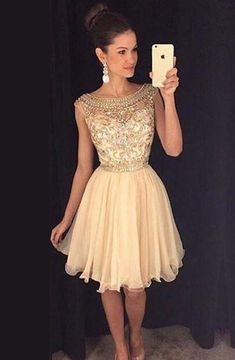 Elegant Bateau Cap Sleeves Short Champagne Homecoming Dress Beading
