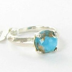 Pre-Owned Ippolita Ring Sz 7 Rock Candy Single Stone Quartz Bronze Turquoise 925  $295 featuring polyvore women's fashion jewelry rings multi blue turquoise ring turquoise rings green turquoise ring bronze jewelry turquoise stone jewelry