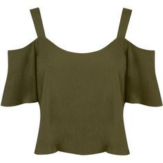 Miss Selfridge Petite Gypsy Cami Top, Khaki ($15) ❤ liked on Polyvore featuring tops, crop top, petite, petite tops, sleeveless tank tops, brown tank, cami tank tops e sleeveless crop top