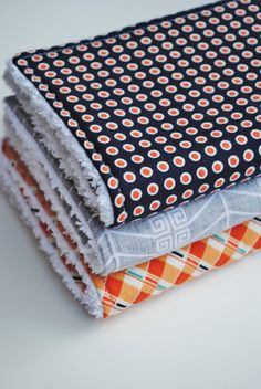 Baby Boy Chenille Burp Cloths  Set of 3  Triple Layer  by SewToot  Boy themed baby shower gift gray navy blue and orange modern baby arrows new baby