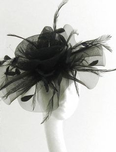 Black Fascinator Hat for Weddings, Occasions and Parties