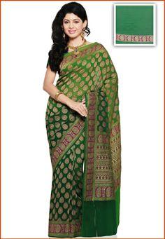 TUtsav Fashion : shaded-green-pure-silk-georgette-saree-with-blouse