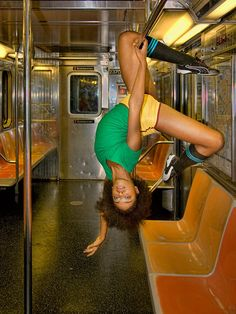 Aisha Mitchell, Alvin Ailey dancer, dancing on the 1 train, NY subway.