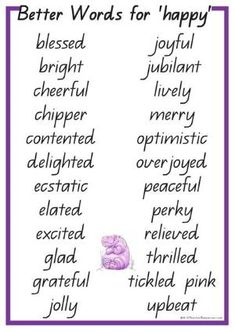 24 Better Words for Happy. 24 Synonyms for happy to help children improve their writing and vocabulary. Bright word cards ready to print for writing reference and discussion. Book Writing Tips, English Writing Skills, Writing Words, Essay Writing, Writing Prompts, Synonyms For Writing, The Words, Words To Use, Cool Words