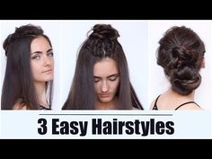 How to do a halo crown braid tutorial easy 3 easy hairstyles the hun half up bun hello in this video tutorial i will show you step by step how quickly to make yourself a light hairstyle for ever solutioingenieria Images
