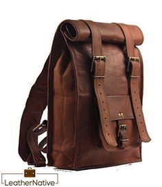 Leather Native large Roll Top Backpack Rucksack Rolling Bag travel Bikers Bag in genuine leather Business Bag School Bag work Bag Great Gift For Men And Women * Check this awesome product by going to the link at the image. Note: It's an affiliate link to Amazon #menleatherbackpack