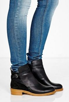 Black Clover Flat Ankle Boot by Acne