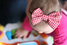 FOR BABY red gingham big bow headband by muchloveilly on Etsy, $10.00