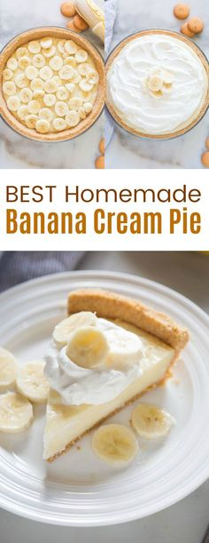 Homemade Banana Cream Pie with no box-pudding mix! A delicious homemade custard filling that holds together perfectly, layered inside a nilla wafer crust. via @betrfromscratch
