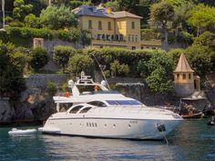 Motor-yacht at anchor, Portofino, Italy.