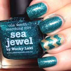 Instagram media by fortheloveofnails_ - I think this might just be my new favourite polish! Sea Jewel, by @piCture pOlish. Sooo sparkly! For the accent I used nail vinyls by @teismom<3<3FABULOUS<3<3