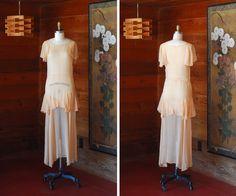 vintage 1930 peach silk dress / size extra by honeytalkvintage