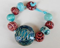Turquoise and Burgandy Lentil and Bead Set - Majoyoal Ceramics by Mª Carmen Rodriguez Martinez