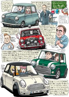 """It is futile trying to create a link between Alec Issigonis' masterpiece , with the BMW """"MINI"""" They are 2 separate cars with no connection other than in name. its all very sad. Mini Cooper Classic, Classic Mini, Classic Cars, Mini Morris, Automobile, Mini Copper, Mini Countryman, Car Illustration, Japan Cars"""