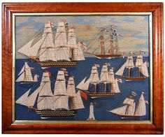 British Sailor's Large Woolwork Woolie with Seven Royal Navy Ships.