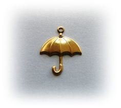 10 UMBRELLA Raw Brass Charms and Jewelry Findings (BG)