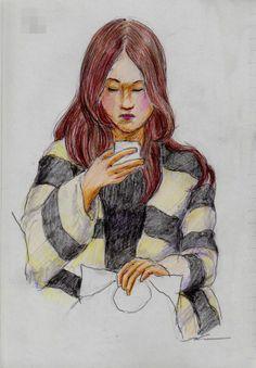 ボーダー柄の上着のお姉さん It is a sketch of the woman was wearing a jacket of horizontal stripes.  I drew on the train going to work.