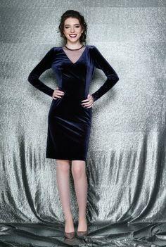 Rochie eleganta conica cu maneca lunga din catifea EVA bleumarin -  Ama Fashion Bodycon Dress, Dresses, Fashion, Vestidos, Moda, Body Con, Fashion Styles, Dress, Fashion Illustrations