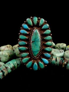 Size 8 Vintage Old Pawn Zuni Sterling Silver Squash Blossom Petit Point Ring w High Grade Kingman Turquoise! 20g Giant Beauty!