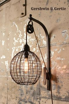 Metal Industrial Wire Sphere Wall Sconce with Pulley