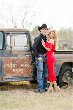 Celebrating the engagement of the reigning World Champion All-Around Cowboy Tuf Cooper, and his beautiful fiancé Tiffany McGhan, owner of Fashion Posse, in Weatherford, Texas. These images are featured on RIDE TV Go's original series Tuf n' Tif Cowboy Family Pictures, Country Couple Pictures, Cute Country Couples, Prom Pictures Couples, Prom Couples, Western Family Photos, Western Baby Pictures, Western Engagement Photos, Engagement Photo Outfits