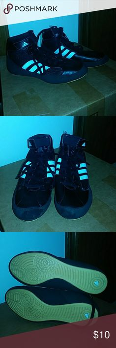 Boys Adidas wrestling shoes Great condition! Black wrestling shoes from Adidas - my son wore them a couple times before quitting wrestling. Lace up and velcro closure. Size 3.5 adidas Shoes Sneakers