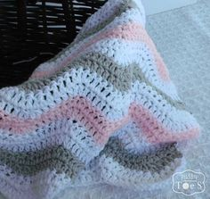 Crochet Chevron Baby Blanket Pink Baby Blanket by puddintoes