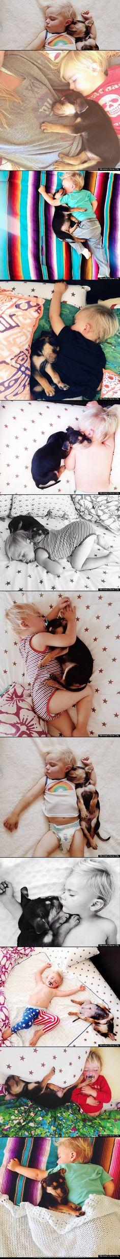 Theo & Beau take naps. #love #kids #puppies