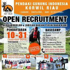 Pendaki Gunung Indonesia Korwil Riau -Learn Explore  And Discover-  Open Recruitment !!! Pendaftaran : 10 Des - 31 Des 2015  Pengumuman: 03 Januari 2016  Pra Diklat :  24 Januari 2016  Diklat I :  29 Jan - 31 Jan 2016  Diklat II :  19 Feb - 21 Feb 2016   Let's Join us !!! #pgikorwilriau #salamsaudara