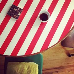 Inspiration for a table I want to redo; great idea!    Striped table top. This is so cute and fun!