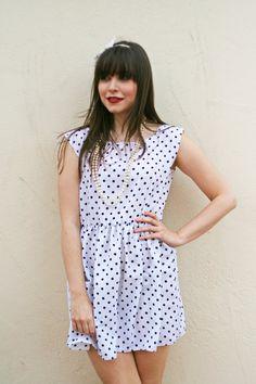 Polka dot vintage monochrome cotton summer dress. $54.00 via Etsy.