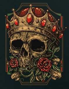 king crown tattoo and more the skulls the o jays skulls king death King Crown Tattoo, King Tattoos, Skull Tattoos, Skull Artwork, Skulls And Roses, Human Skull, Human Skeleton, Wow Art, Grim Reaper