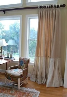 Burlap curtains, also like drape rings