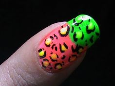 Leopard nail art tutorial neon long/short nail polish design to do at home for beginners step wise