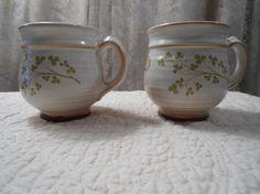 Set of 2 Never Used Irish Country Pottery Coffee Mugs Kitchen Decor Shamrocks Hippie Boho Shabby Chic Cottage Chic Gypsy Vintage Country by LandofBridget