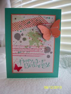 Gorgeous Grunge - Stamps: Gorgeous Grunge, Sassy Salutations Paper: Coastal Cabana, Crisp Cantaloupe, Whisper White, Smoky Slate, Strawberry Slush Ink: Coastal Cabana, Crisp Cantaloupe, Pistachio Pudding, Strawberry Slush, Smoky Slate Accessories: Beautiful Wings Embosslit, Silver elastic cord, Basic Jewels, Dimensionals, Glue dots