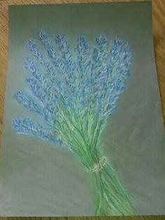 Lavendel, pastelkrijt.
