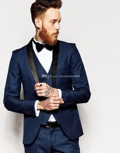 Side Vent Slim Fit Groom Tuxedos Shawl Collar Men'S Suit Navy Blue Groomsman/Bridegroom Wedding/Prom Suits Jacket+Pants+Tie+VestJ769 Clothing Mens Cool Tuxedos From Wholesalers888, $89.01| Dhgate.Com